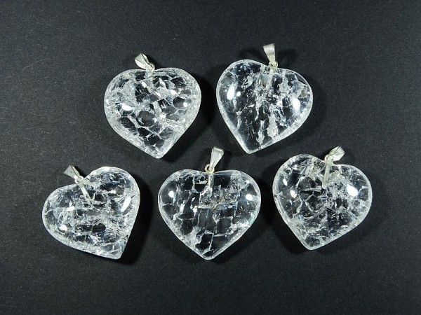 Kryształ górski lodowy 1 szt. Wisior Serce 72w