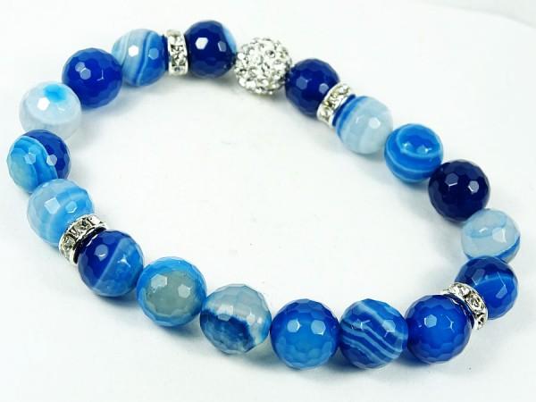 Agat niebieski Bransoletka 53B